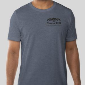 Man in Center Hill Neighborhood Association blue T-Shirt