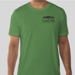 Man in Center Hill Neighborhood Association green T-Shirt