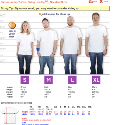 CHNA Men's t-shirt sizing guide