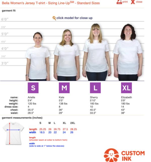 CHNA Women's t-shirt sizing guide