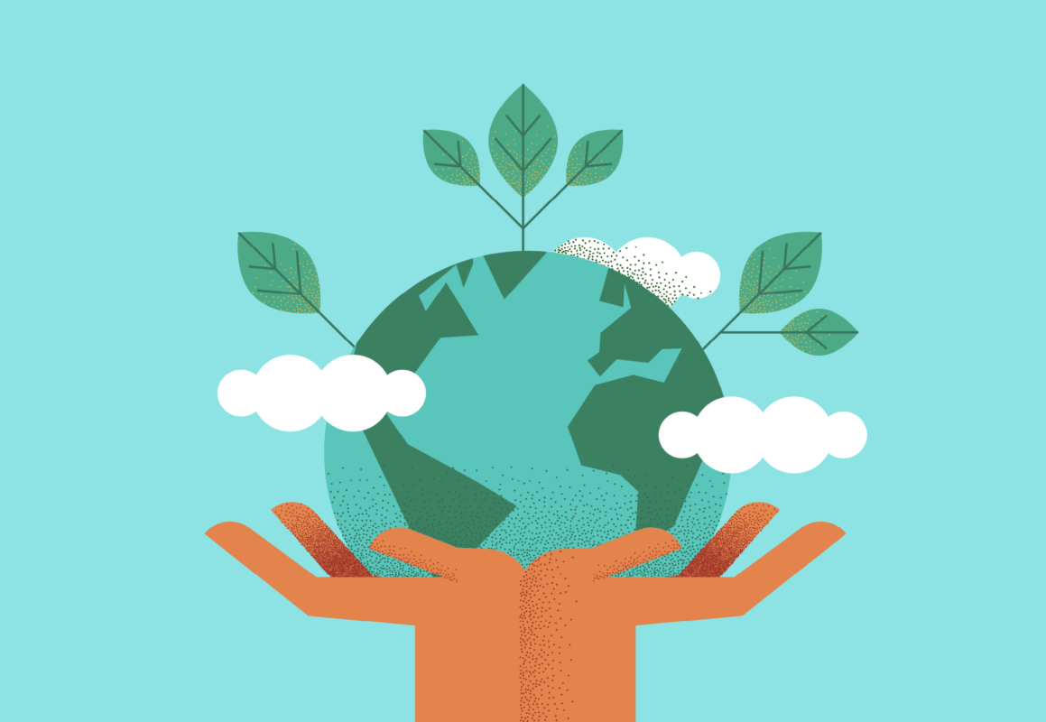 Illustration of hand holding Earth